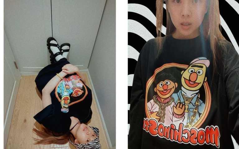 吳映潔(鬼鬼)因特別喜歡好朋友「伯特(Bert)與恩尼(Ernie)」所以選穿了以他們為主 角的洋裝款式,如同在電視中看到的親切與熟悉。 (圖/IG)