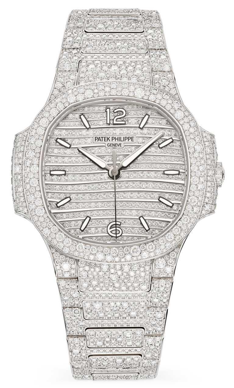 PATEK PHILILPPE「Nautilus高級珠寶腕錶」白金款,編號7118/1450G-001╱10,694,000元。(圖╱PATEK PHILILPPE提供)