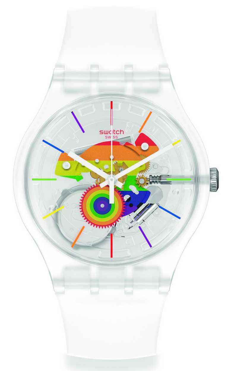 SWATCH「Pride」系列「Let's Parade」腕錶╱3,950元。(圖╱SWATCH提供)