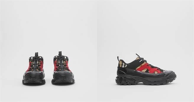 Vintage格紋棉質和磨絨皮革Arthur運動鞋 NT28,900(圖/翻攝自Burberry官網)