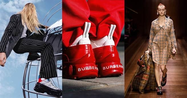 Burberry新一季推出Arthur球鞋,以色彩&材質做出拼接設計。(圖/翻攝自Burberry官網、IG)