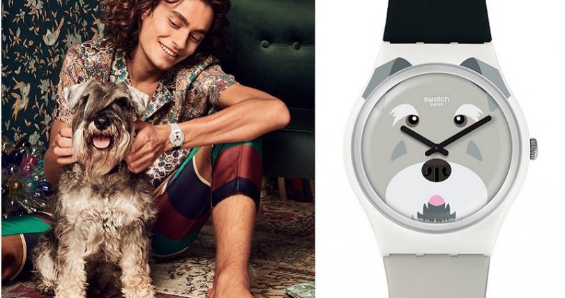 錶盤上長鬍子的雪納瑞令人愛不釋手。錶帶上下端分別以灰色與黑色呈現,搭配白色鋸齒邊緣的錶環。建議售價 NT2,050。(圖/Swatch提供)