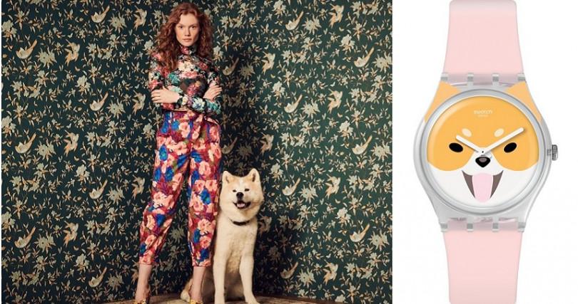 錶盤上活力充沛的秋田犬惹人憐愛,錶帶顏色以小狗慵懶的粉色舌頭為基調,創意吸睛。建議售價 NT2,050。(圖/Swatch提供)