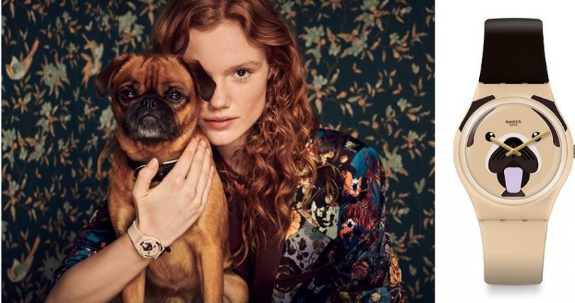 錶盤上溫順的巴哥犬和深棕色錶帶相映成趣,淺棕色錶環配有金色吊牌。建議售價 NT2,050。(圖/Swatch提供)