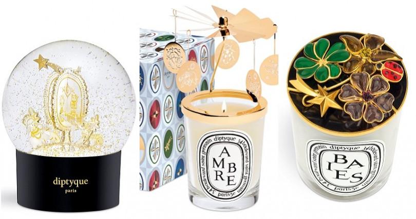 DIPTYQUE 2019聖誕限量裝飾雪球/3500元;聖誕限量旋轉燭罩/2400元,聖誕限量工藝燭蓋/12500元。