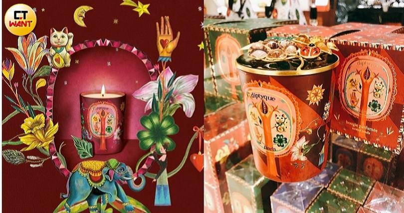 diptyque限量花開鴻運(Flora Fortuna)香氛蠟燭190g/2,450元。(圖/黃筱婷攝影、品牌提供)