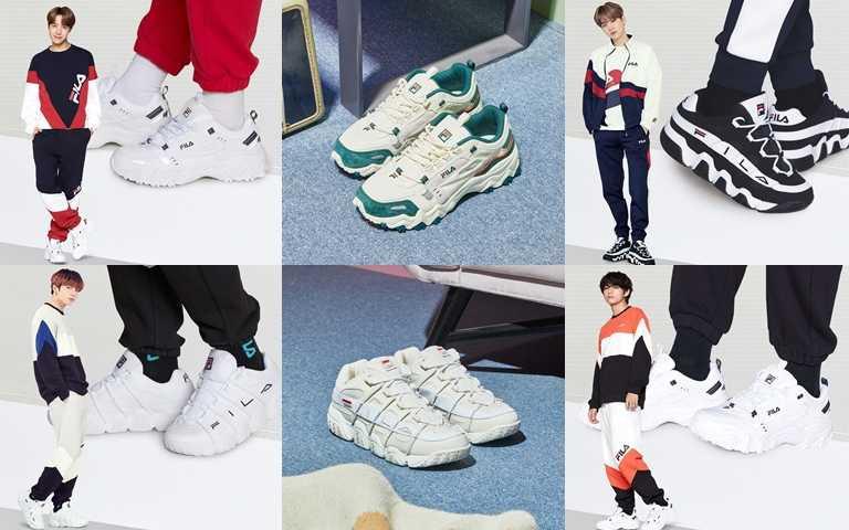 成員J-HOPE、SUGA、柾國、V親身穿配新系列多鞋款展現特有的休閒街頭時尚。(圖/FILA)