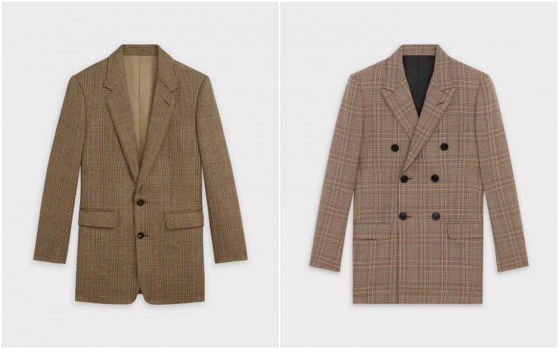 CELINE威爾斯格紋經典外套/87,000元、CELINE威爾斯格紋雙排扣長外套/95,000元(圖/品牌提供)