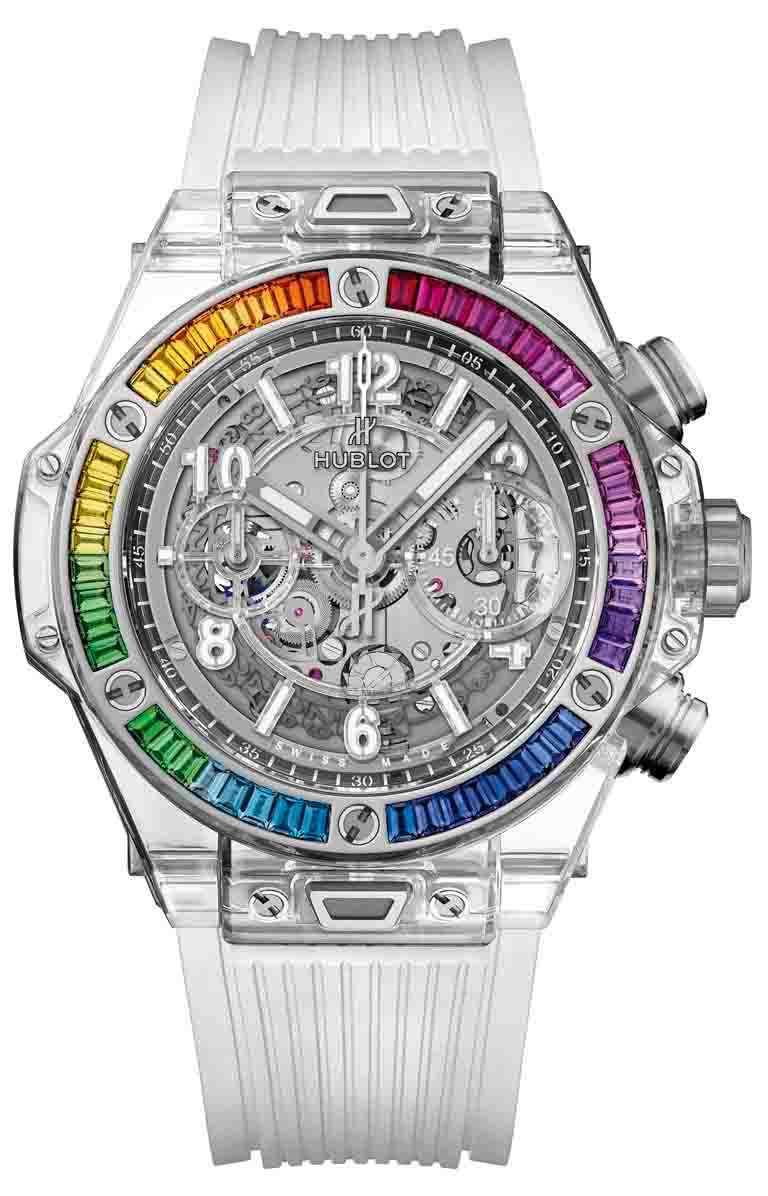蔡詩芸佩戴錶款:HUBLOT「Big Bang Unico藍寶石彩虹腕錶」拋光藍寶石錶殼,42mm,彩色寶石48顆,限量50只╱2,911,000元。(圖╱HUBLOT提供)