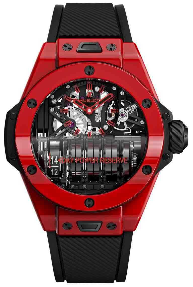 HUBLOT「Big Bang MP-11魔力紅」陶瓷腕錶╱拋光紅色陶瓷錶殼,HUB9011自製手動上鍊鏤空動力儲存機芯,7組串聯式發條盒及動力儲存顯示軸,45mm,限量100只╱2,649,000元。(圖╱HUBLOT提供)