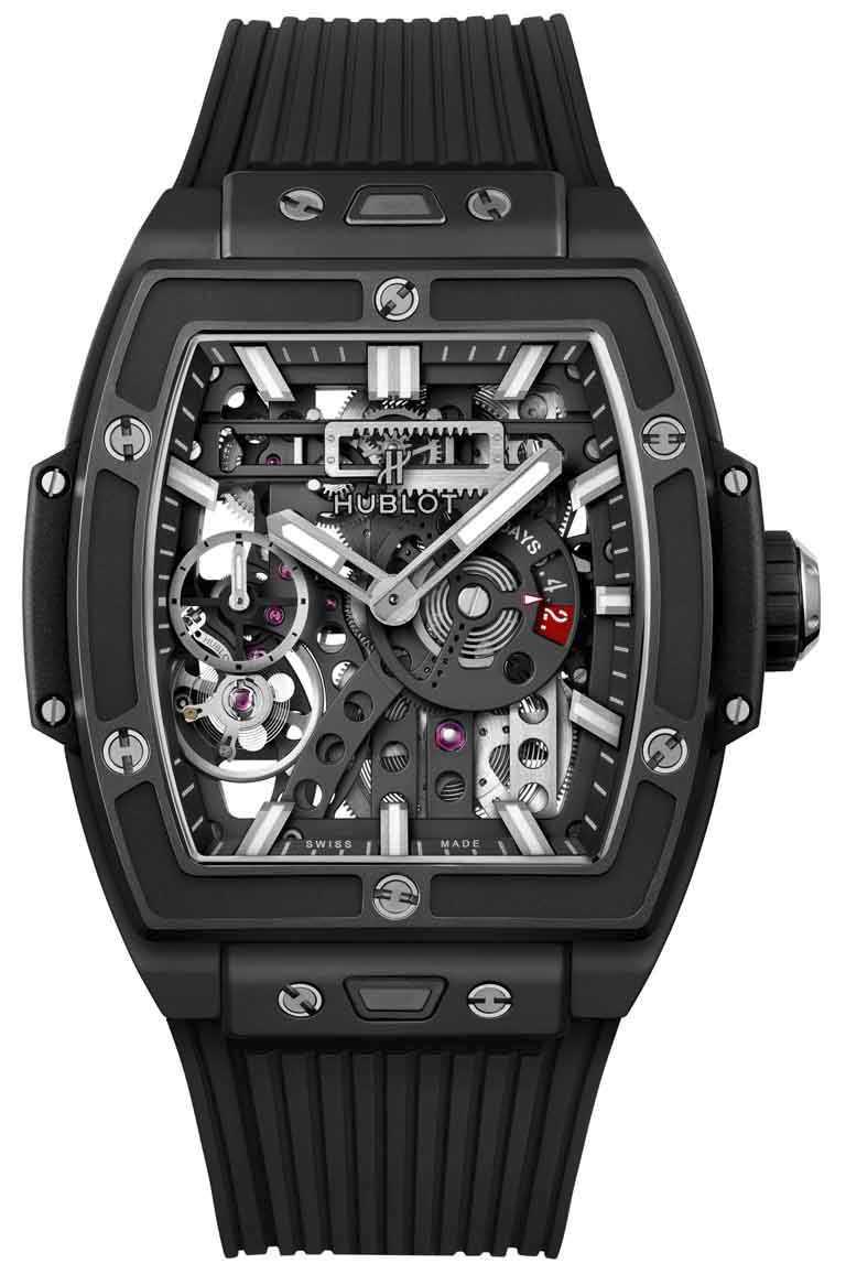 王陽明佩戴錶款:HUBLOT「Spirit of Big Bang Meca-10腕錶」魔力黑陶瓷款,微噴砂黑色陶瓷和藍寶石水晶錶殼,45mm╱847,000元。(圖╱HUBLOT提供)
