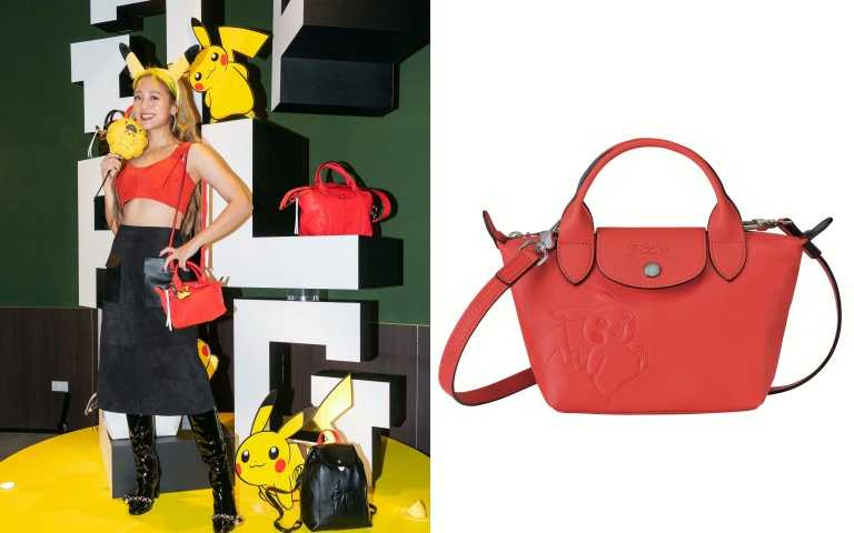 Longchamp x Pokémon聯名系列Le Pliage® Cuir 迷你手提包/18,700元。