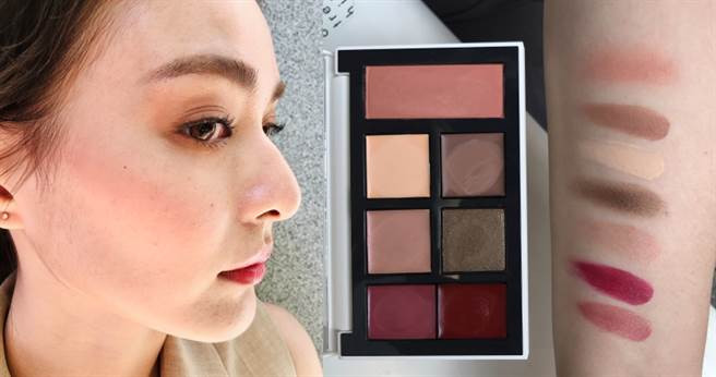 THREE 真我綻色采粧組#X02,現場試色給你看,每色都絕美又顯色。(圖/黃筱婷攝影)