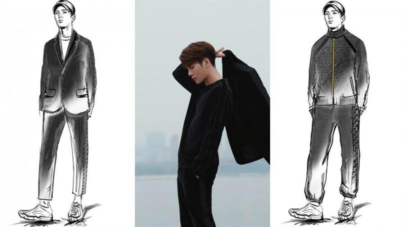 由品牌男裝設計師Silvia Venturini Fendi親自繪製設計手稿。
