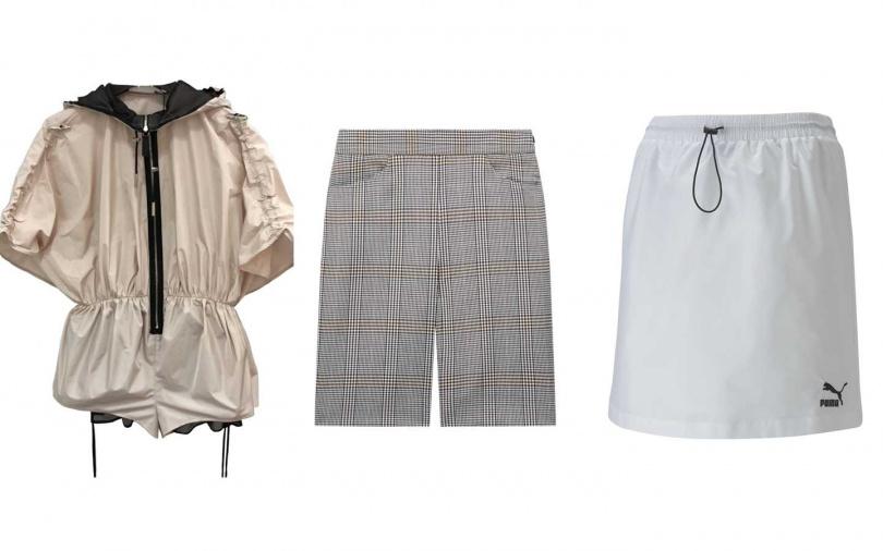 這些item也很推薦。Longchamp粉白色連身衣/37,300元、Maje英倫風五分褲/6,960元、PUMA流行系列Classics短風裙/1,380元(圖/品牌提供)