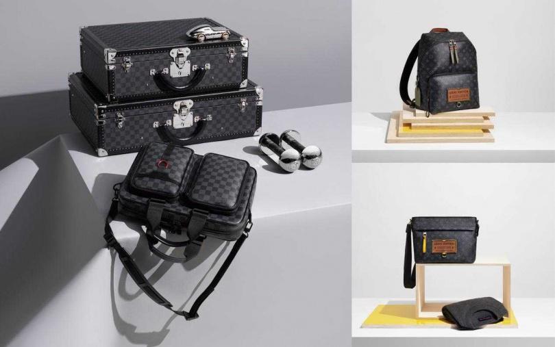 LOUIS VUITTON Utility Business Bag front公事包/89,000元,(右上)LOUIS VUITTON Gaston Labels Discovery Backpack背包/83500元;(右下) LOUIS VUITTON Gaston Labels Discovery Bumbag包款/78,000元。(圖/品牌提供)