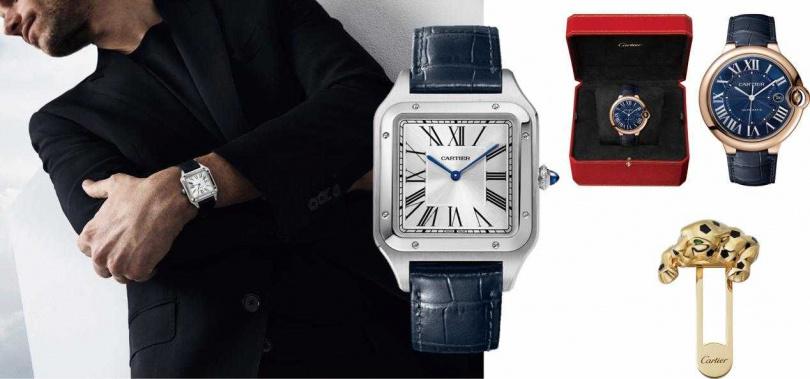 (左)Santos-Dumont 腕錶,超大型款/180,000元;(右上)Ballon Bleu de Cartier 腕錶,42 毫米/485,000元;(右下)Panthère de Cartier 美洲豹口袋別針/287,000元(圖/品牌提供)
