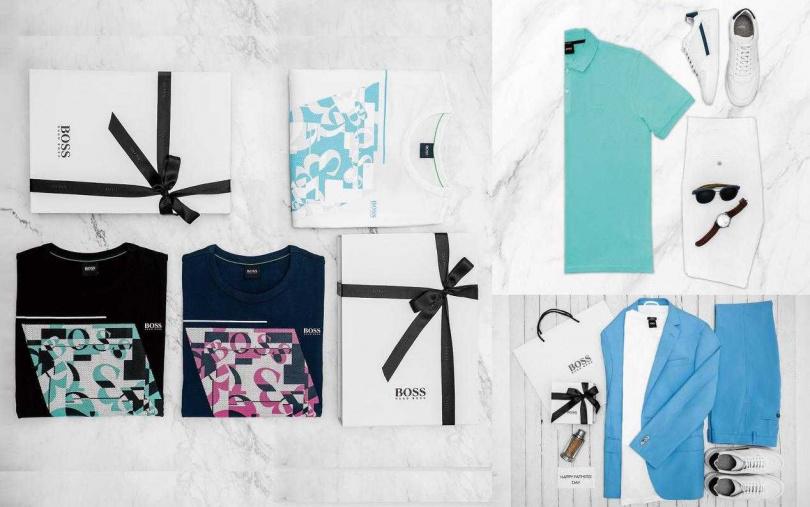(左)BOSS 深藍色動物紋迷彩印花絲光棉T恤 /4,400元;(右上)BOSS粉彩土耳其藍純棉Polo衫/4,400元(圖/品牌提供)