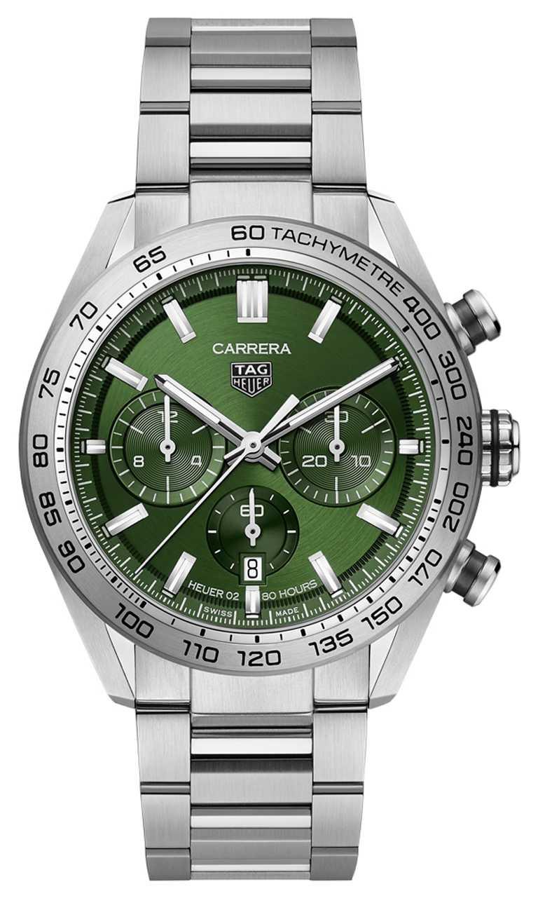 TAG HEUER「Carrera Sport自動計時腕錶」綠面精鋼款,精鋼錶殼,44mm╱188,400元。(圖╱TAG HEUER提供)