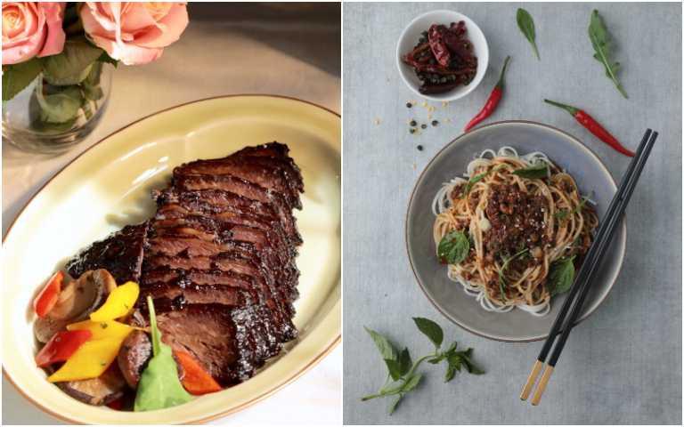 叉燒牛小排(左)、紅油牛肉臊子乾拌麵醬。(圖/GREEN & SAFE提供)
