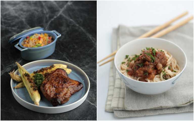 地中海香料烤雞腿(左)、印度香料蔬菜醬。(圖/GREEN & SAFE提供)