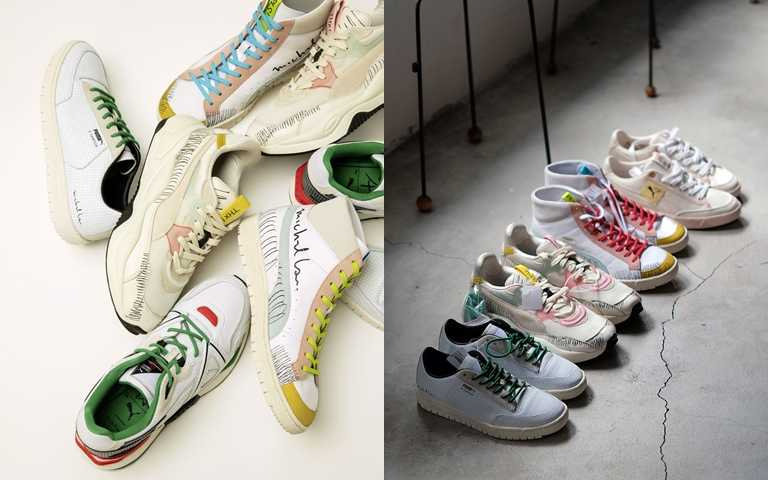 此次聯名推出多款球鞋,配色與手寫塗鴉設計襯托出活潑的休閒時尚。(圖/PUMA)