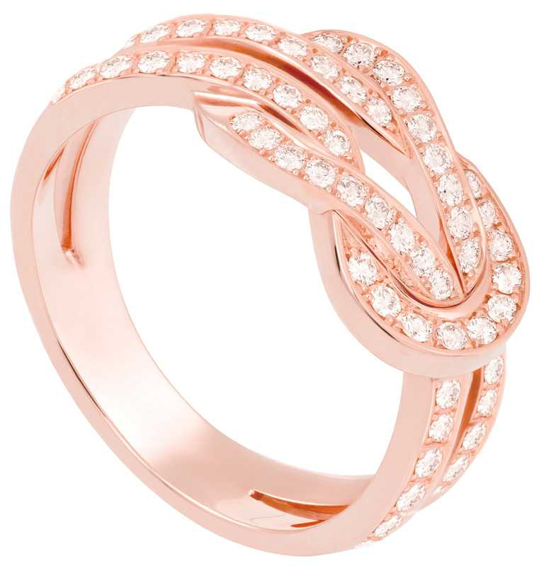 FRED「Chance Infinie」高級珠寶系列,18K玫瑰金滿鑽戒指╱162,800元。(圖╱FRED提供)