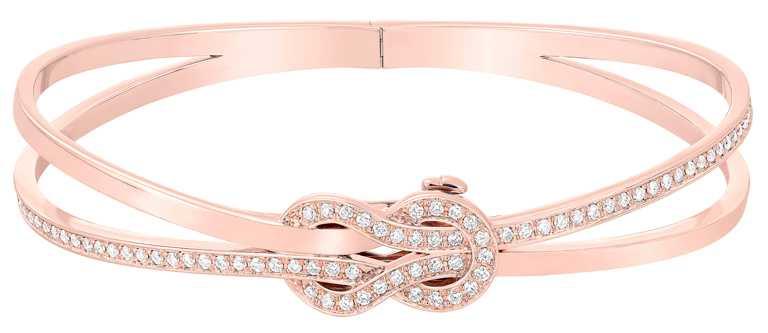 FRED「Chance Infinie」高級珠寶系列,18K玫瑰金鑽石手環╱432,900元。(圖╱FRED提供)