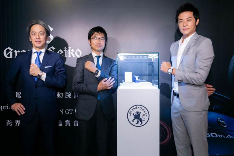 姚元浩(右起)與設計師久保進一郎、台灣精工總經理前田健一出席活動。(圖/Grand Seiko提供)