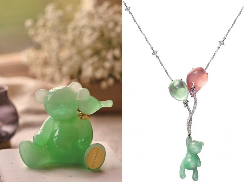 林曉同(左)「幸福使者」╱8,000元;(右)「珠寶藝廊」限定作品,Eric Jade Bear No. 32氣球熊套鍊╱383,000元(圖片提供╱Lin Shiao Tung)