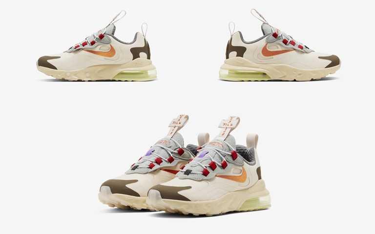 "Nike X Travis Scott Air Max 270""Cactus Trails""成人、嬰幼童鞋款將於5月29日透過Nike指定合作店點販售。(圖/Nike)"
