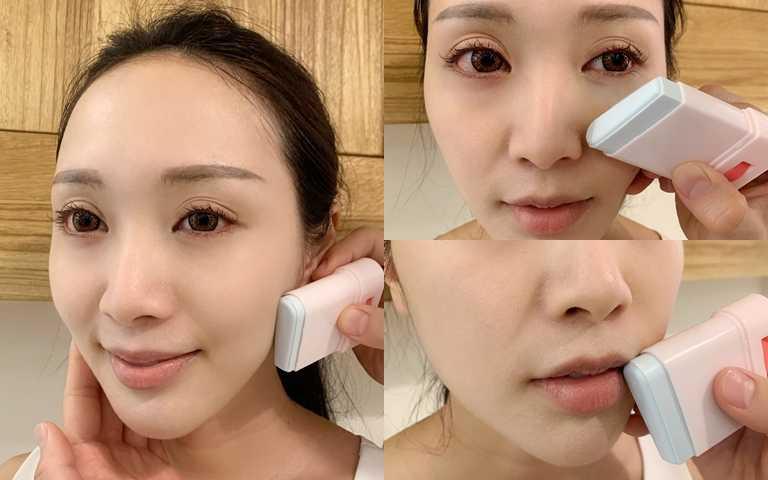 完全不需沾手的防曬棒,臉頰輪廓線、大範圍處可使用側邊塗抹;鼻翼、嘴角可使用前端圓頭塗抹。(圖/吳雅鈴攝影)