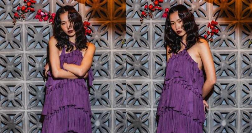 BOTTEGA VENETA 薰衣草紫色棉絲混紡綁帶洋裝/242,200元(圖/莊立人 攝)