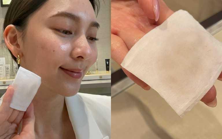 裡面有添加的一個代謝角質的小秘密,透過酸類成分:高穩定PHA分子和玫瑰果萃取物,可以收斂毛孔同時改善暗沉、減少老廢角質,使用化妝棉擦拭,你會發現肌膚的髒污都全部被擦出來,讓肌膚更加乾淨明亮。(圖/黃筱婷攝影)