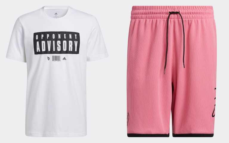 Dame 7 EXTPLY素色T-Shirt(白)GR9928/1,290元;Dame 7 EXTPLY運動短褲(粉)GU0179/1,490元(圖/品牌提供)