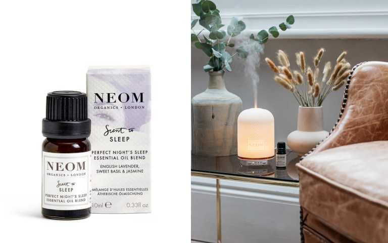 複方精油推薦:NEOM 舒緩恬睡精油10ml /950元。。調和 19 種精油,純淨清甜的英國薰衣草、加上甜羅勒和 美麗的茉莉等,是一款如天堂般放鬆的香氣配方。(圖/品牌提供)