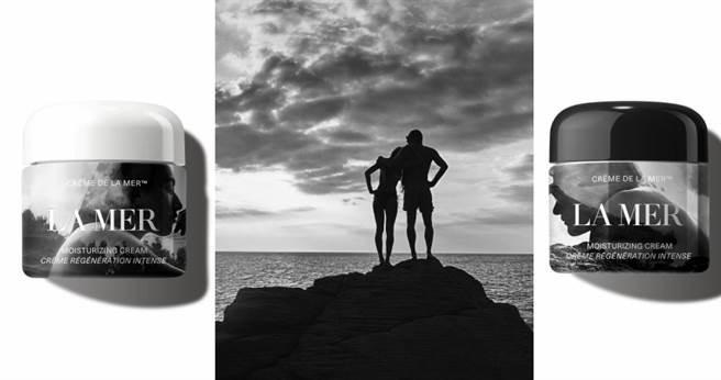 (右)La Mer X Mario Sorrenti 藝術家聯名限量乳霜60ml/11,800元(左)La Mer X Gray Sorrenti  藝術家聯名限量乳霜60ml/11,800元(中)父女倆攝影照