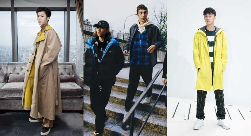 男星范丞丞、施柏宇演譯亮色拼接的Lacoste外套系列,十足的街頭時尚相當有型。(圖/Lacoste)