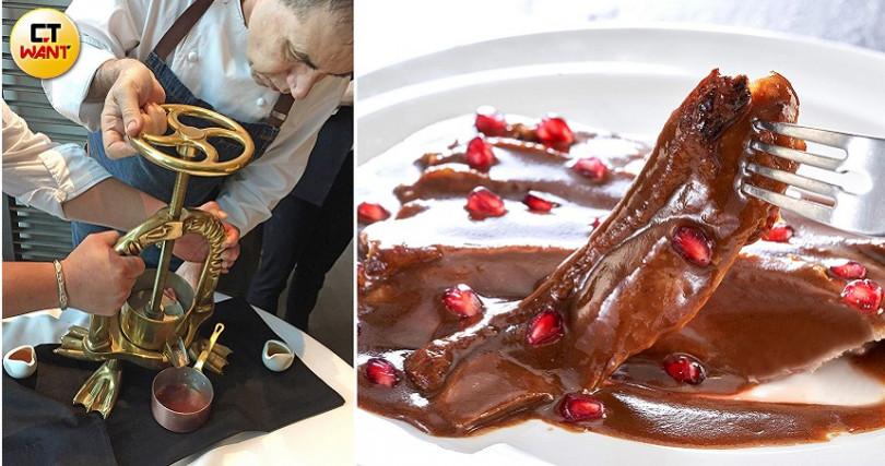 主廚示範「榨鴨骨」取精髓做醬汁佐莓果醬,是這道熟成胭脂鴨的靈魂。(左圖/楊麗雯攝,右圖/Chefs Club Taipei)