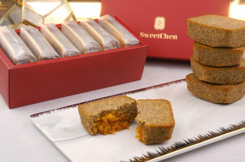 茶香飽和鮮明、並帶有淡淡佛手柑芬芳的「法式伯爵鳳凰肥南雪」,有費南雪的質感、又有蛋糕的造型,可當小點亦可當主角。(圖/Sweet Chen)