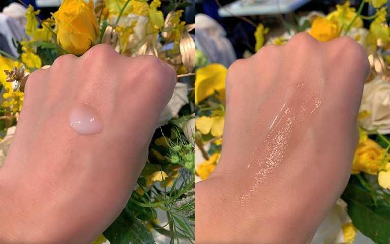 好吸收的乳白色精華乳質地,很快就會被吃進肌膚底層。(圖/吳雅鈴攝)