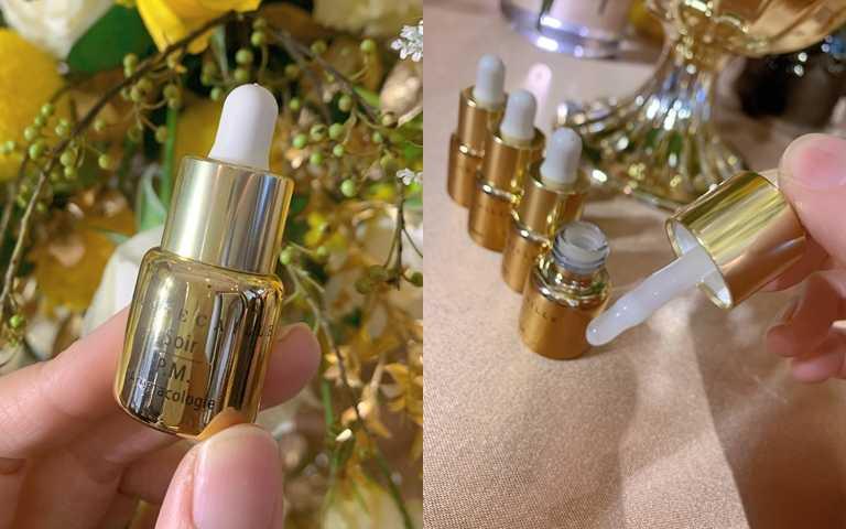 在小小的金黃色瓶身內是營養度極高的成分,建議每星期使用1瓶,連續使用28天,就能看到肌膚明顯的變化。(圖/吳雅鈴攝)
