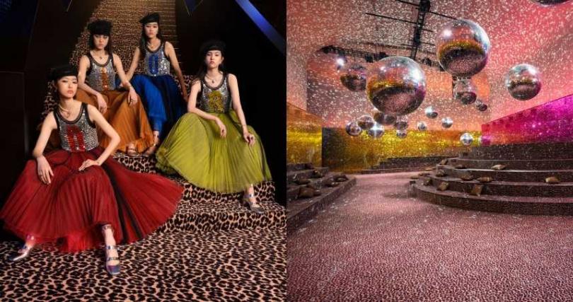 螢光色彩遊走透明虛實之間,搭配金屬銀材質隨作曲家Giorgio Moroder的音樂節拍閃爍。以絢爛的燈球反射與大片的色彩亮片、豹紋互相交織,讓人置身充滿活力的 Disco 舞廳。(圖/品牌提供)