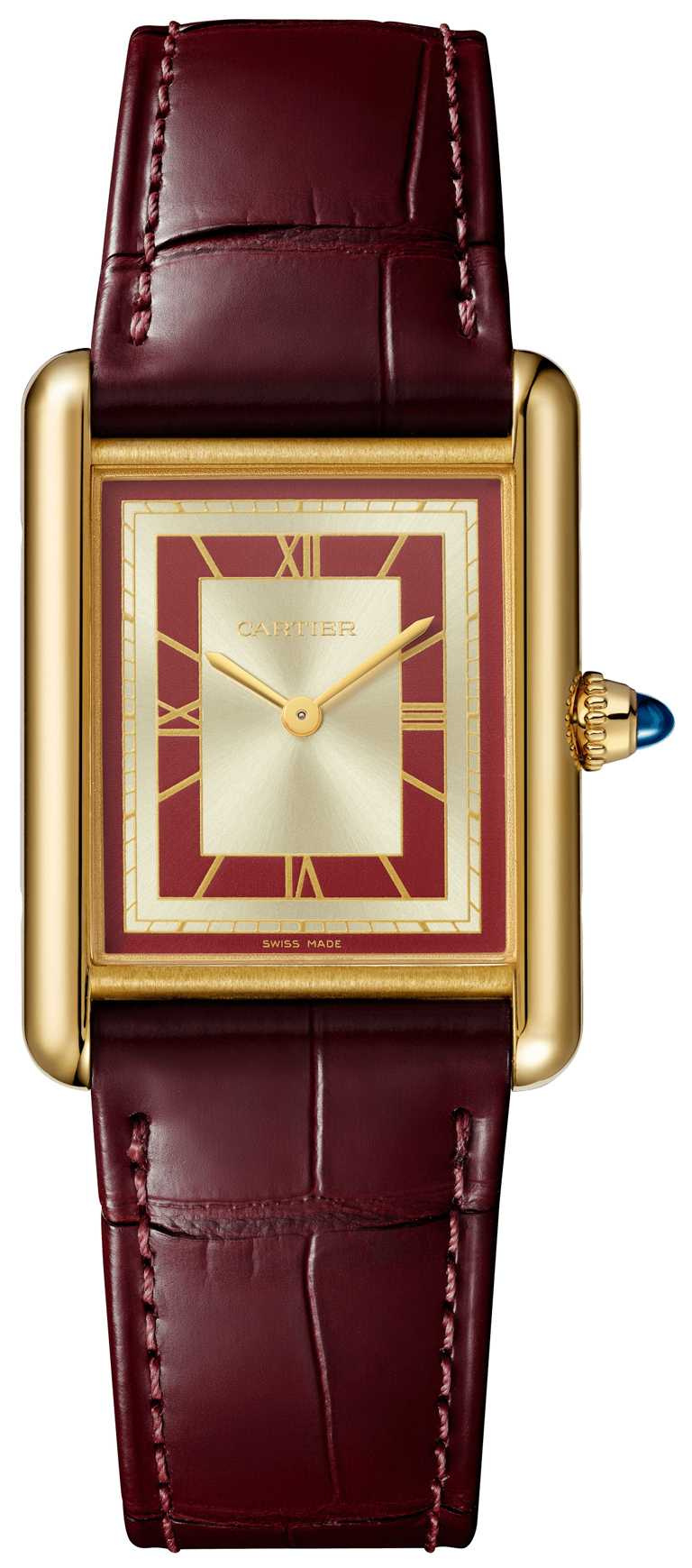 Cartier「Tank Louis Cartier」腕錶(大型款),黃K金錶殼,手動上鏈機械機芯,紅色及珠光錶盤,半啞光深紅色鱷魚皮錶帶╱405,000元。(圖╱Cartier提供)
