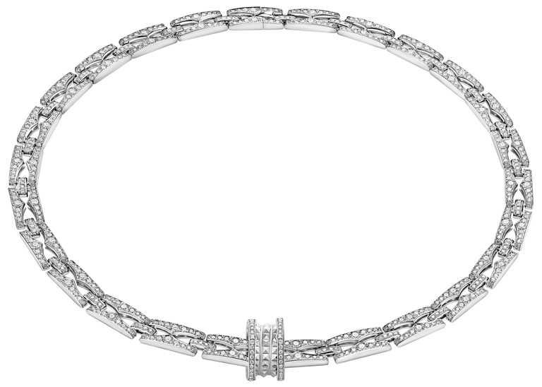 BVLGARI「B.zero1 Rock Chain」系列,白K金鑽石項鍊╱1,699,000元。(圖╱BVLGARI提供)