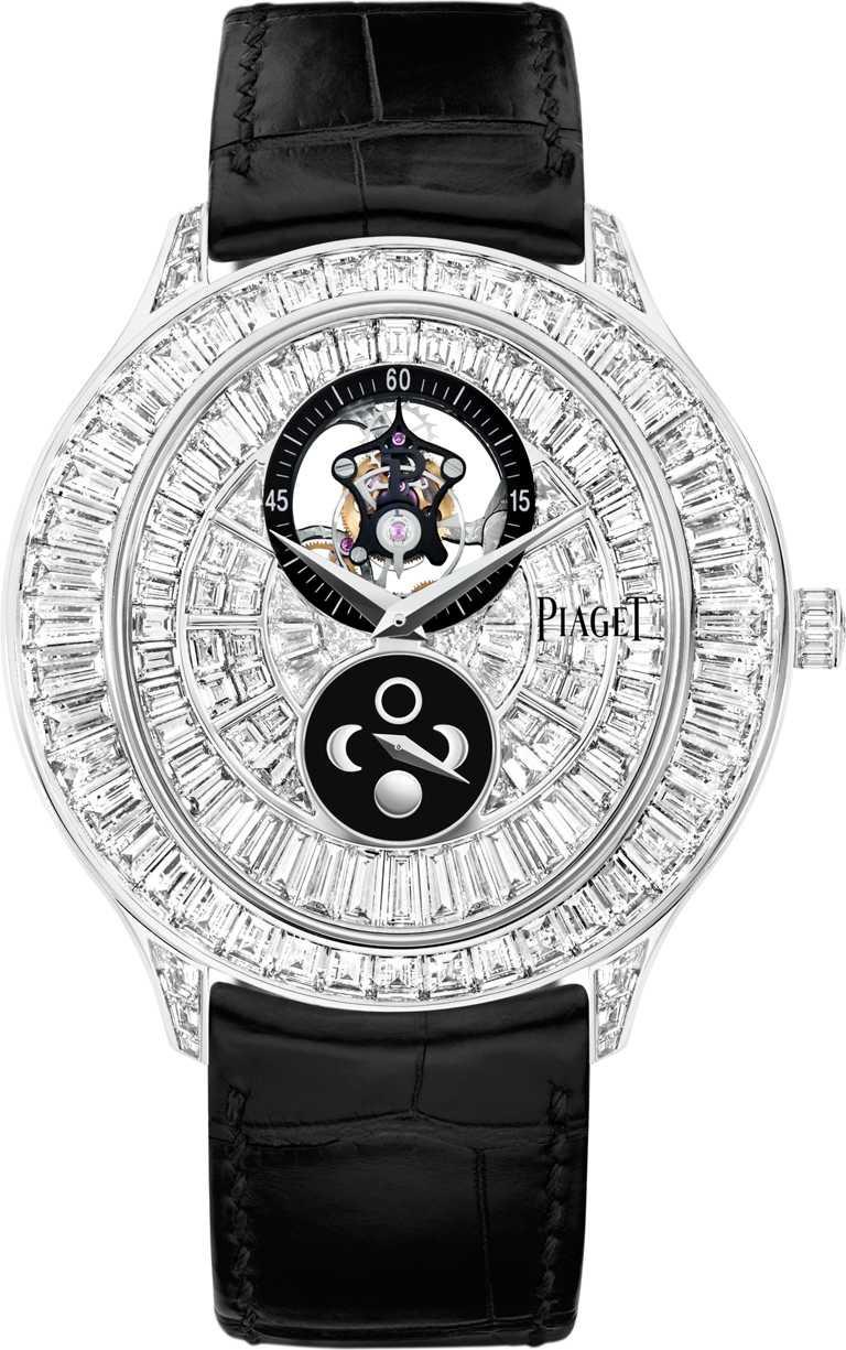 PIAGET「Gouverneur」系列,月相顯示飛行陀飛輪頂級珠寶鑽石腕錶╱24,500,000元。(圖╱PIAGET提供)