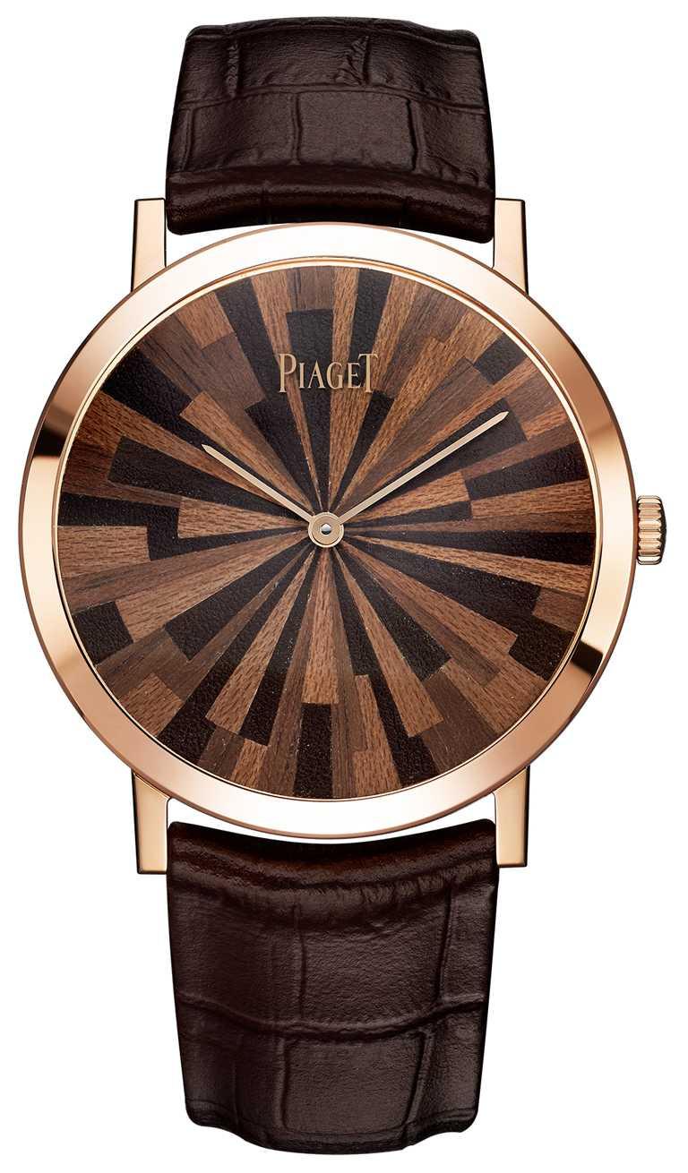 PIAGET「Altiplano」系列,皮革木質鑲嵌超薄腕錶╱1,320,000元。(圖╱PIAGET提供)