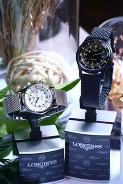 (右)浪琴Legend Diver傳奇潛水男錶,定價:88,500元 (左)浪琴Legend Diver傳奇潛水女錶,定價:78,200元