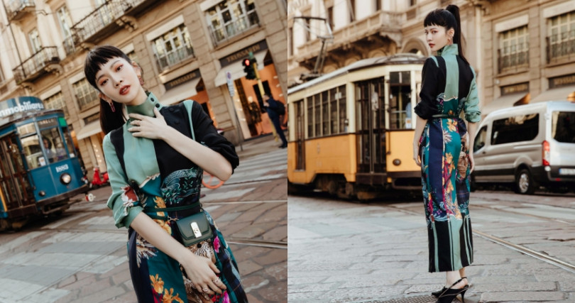 曾之喬身著 Ferragamo,在米蘭街頭當自己家拍照。(圖/品牌提供)