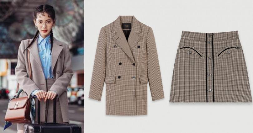 曾之喬現身機場,身穿Maje 2019秋冬系列千鳥格紋排釦米色大衣及A字裙出發米蘭時裝周。(圖/品牌提供)